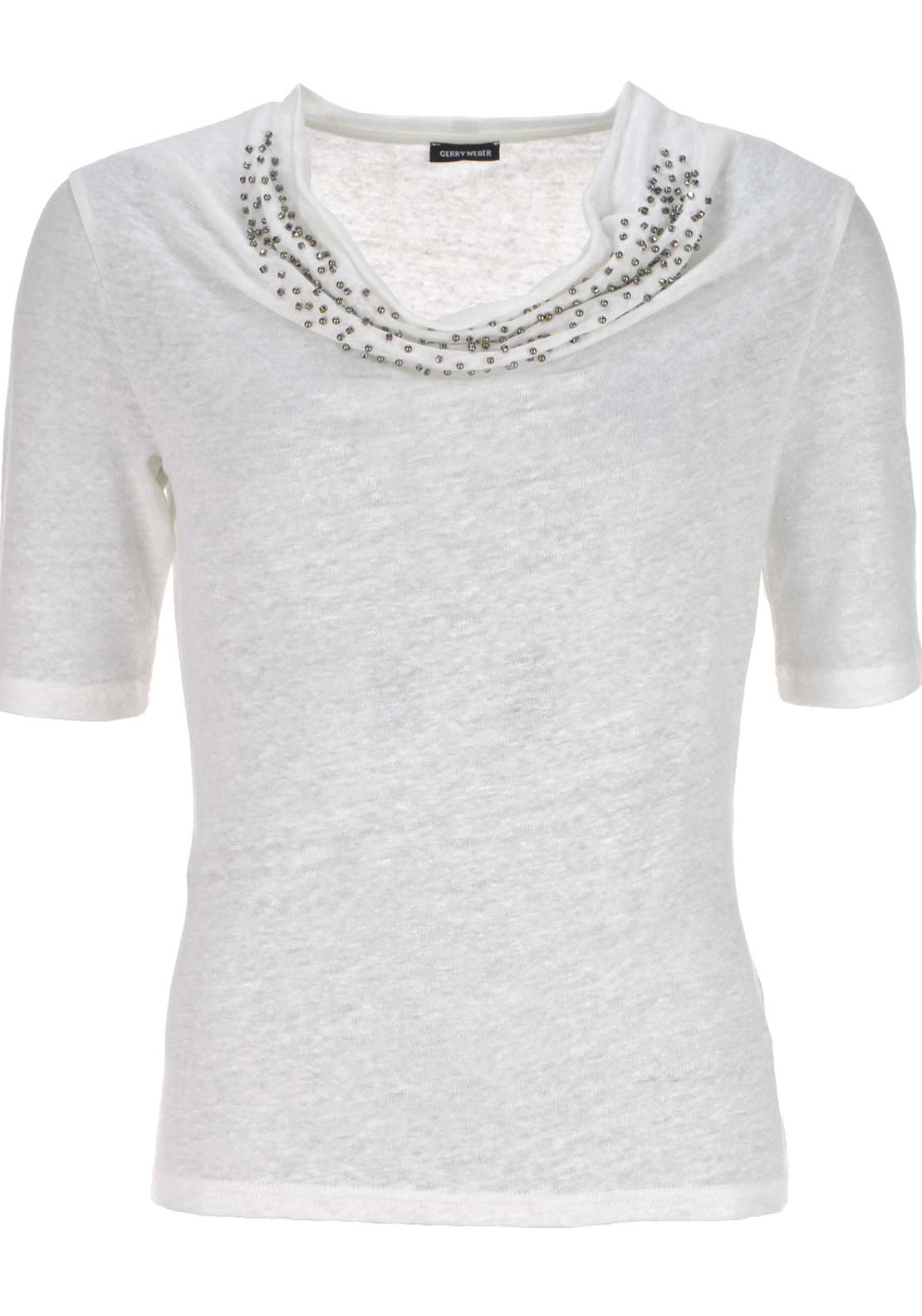 Gerry Weber Embellished Neck Linen Top, Cream