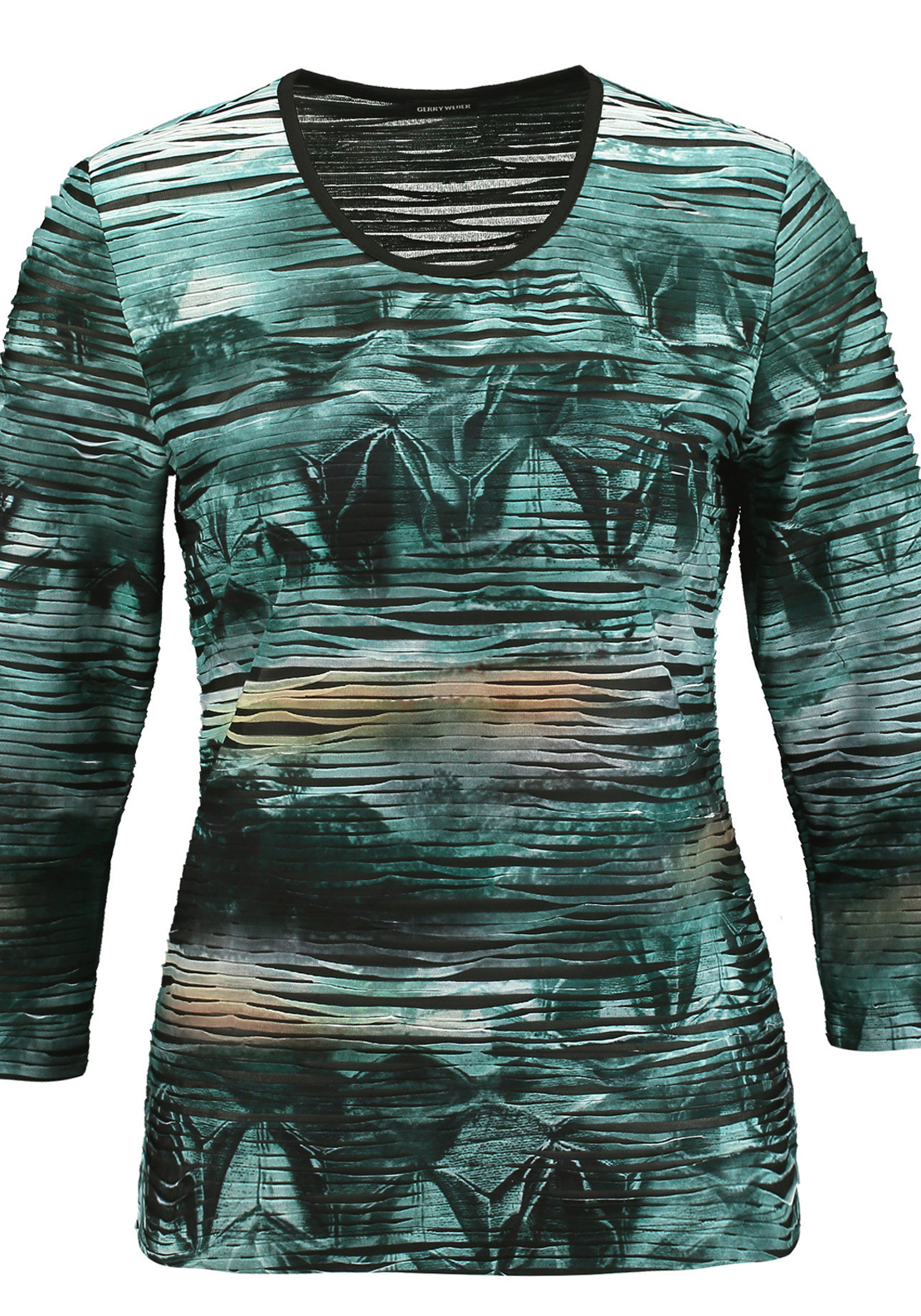 Gerry Weber Ribbed Printed Cropped Sleeve Top, Green Multi