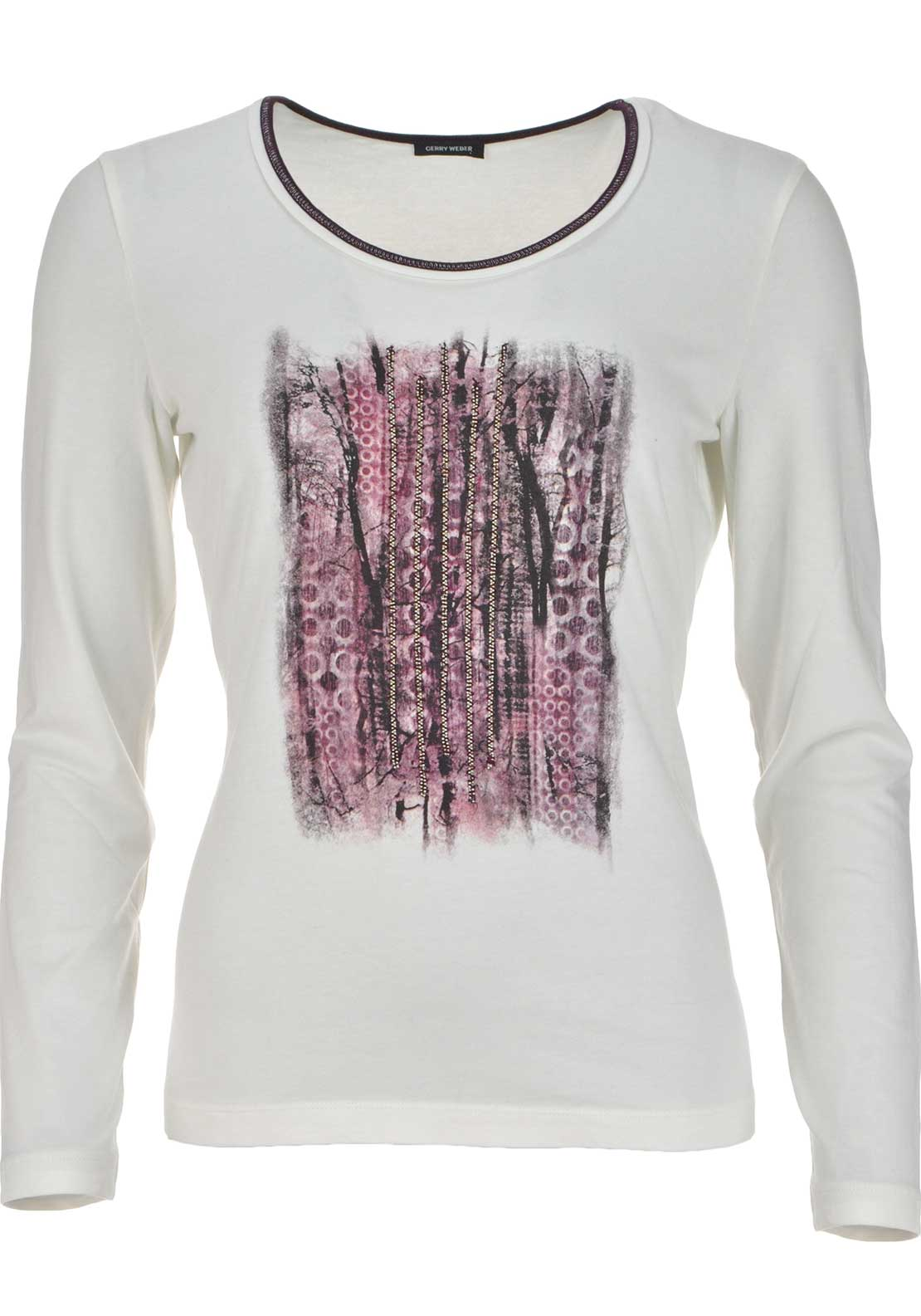 Gerry Weber Stud Embellished Printed Long Sleeve T-Shirt, Ivory