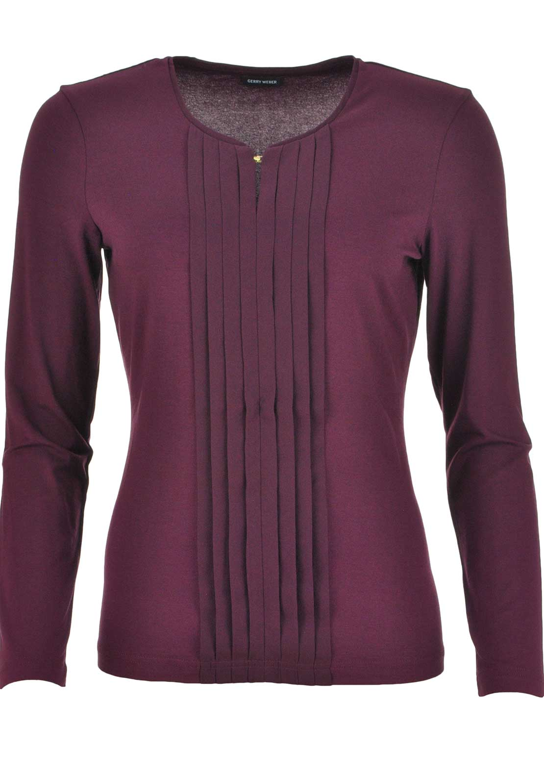 Gerry Weber Pleated Panel Long Sleeve T-Shirt, Berry