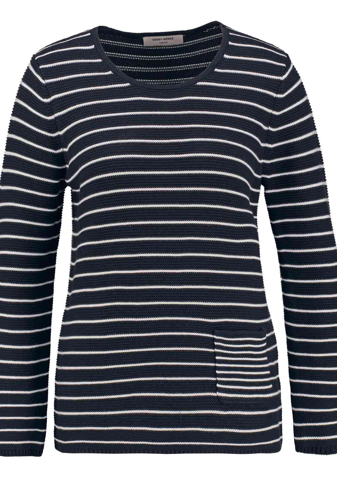 Gerry Weber Striped Chunky Knit Sweater Jumper, Navy and White