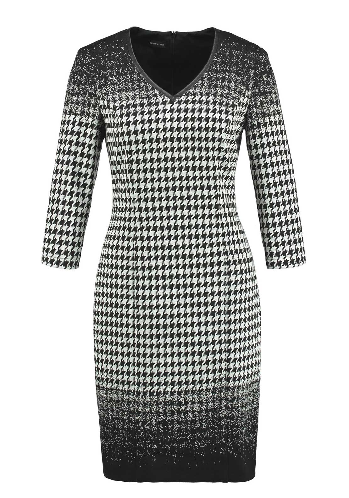 Gerry Weber Houndstooth Print Cotton Blend Shift Dress, Black and White