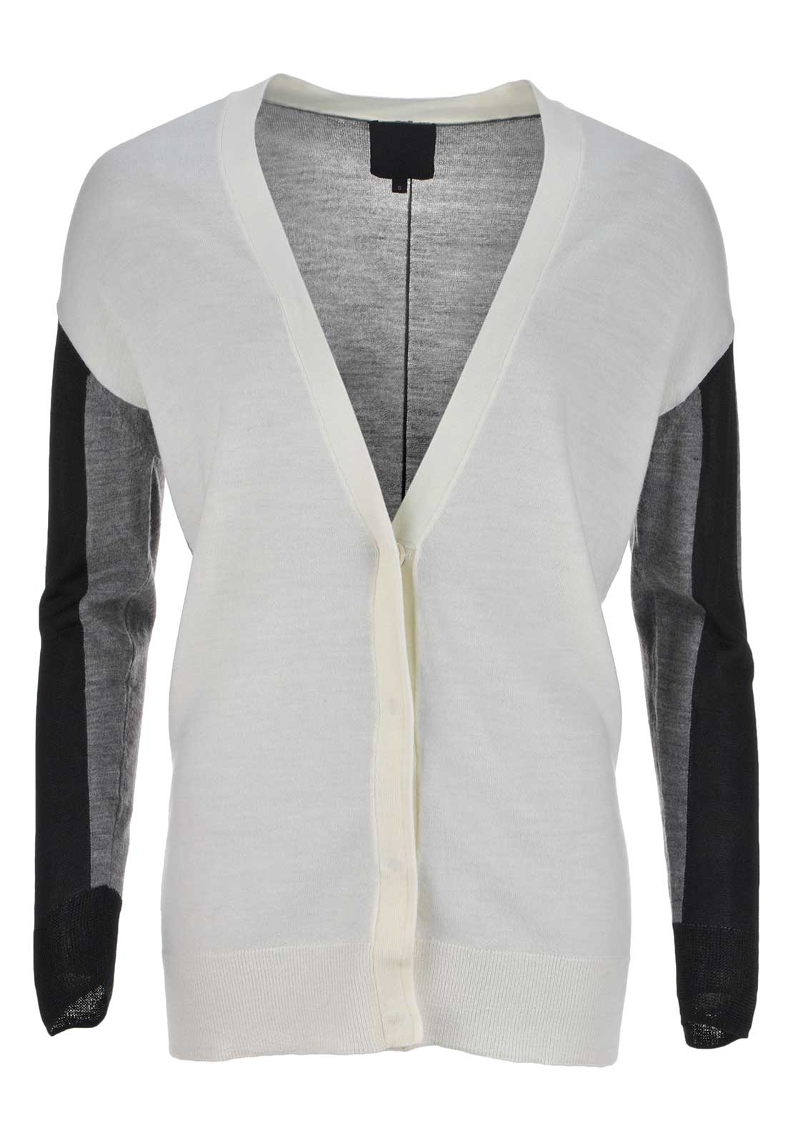 Inwear Lana Merino Wool Colour Block Long Length Cardigan, White and Grey