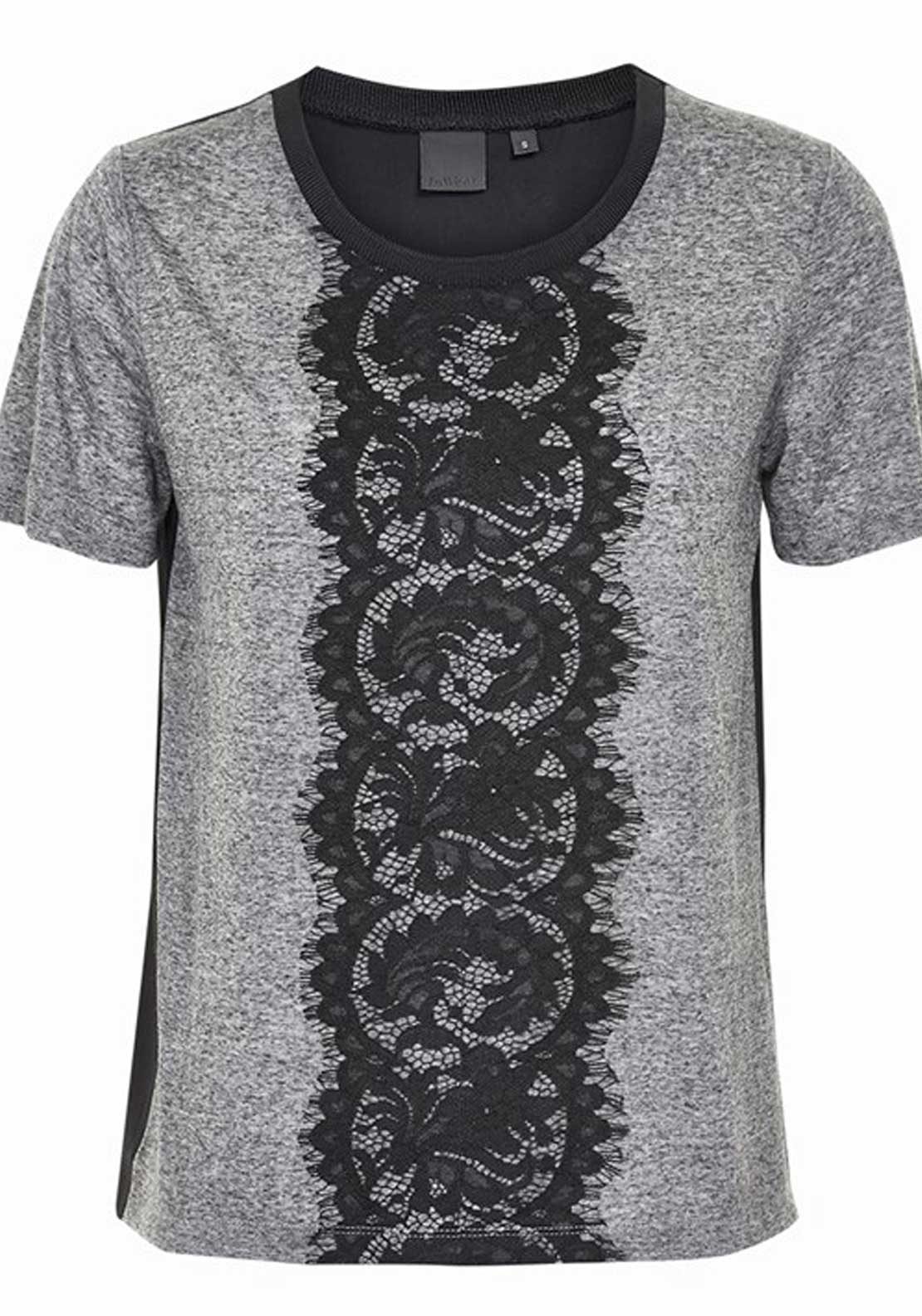 Inwear Safina Lace Trim Short Sleeve T-Shirt, Grey