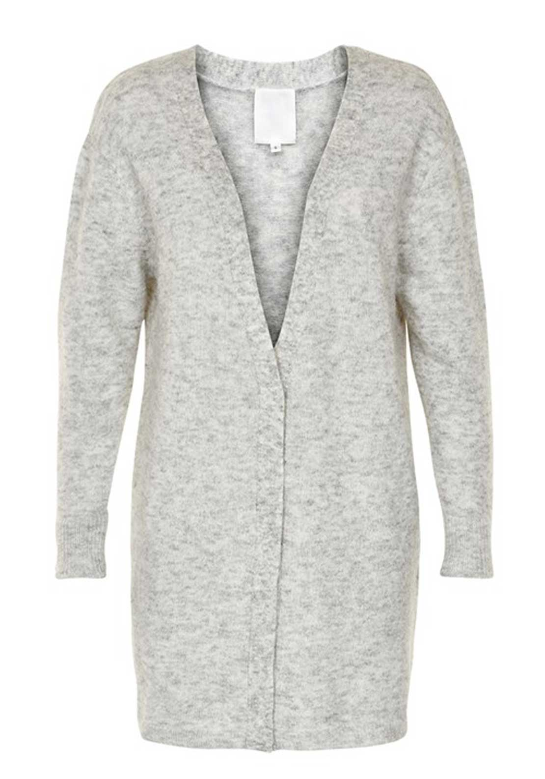 Inwear Panula Long Length Wool and Mohair Blend Cardigan, Light Grey