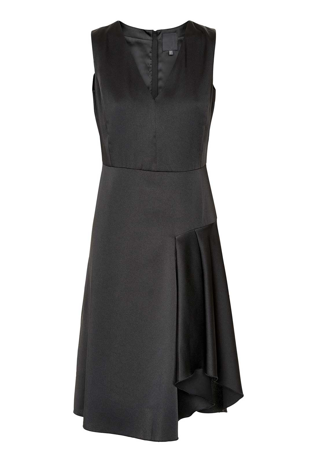 Inwear Brenna Satin Ruffle Detail Sleeveless Dress, Black