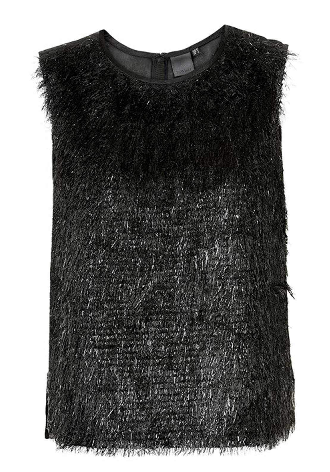 Inwear Ada Eyelash Yarn Sleeveless Top, Black