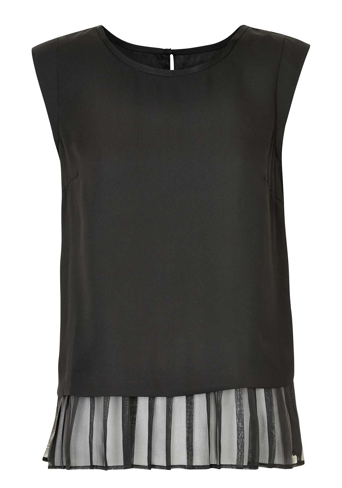 Inwear Amira Pleated Hem Sleeveless Top, Black