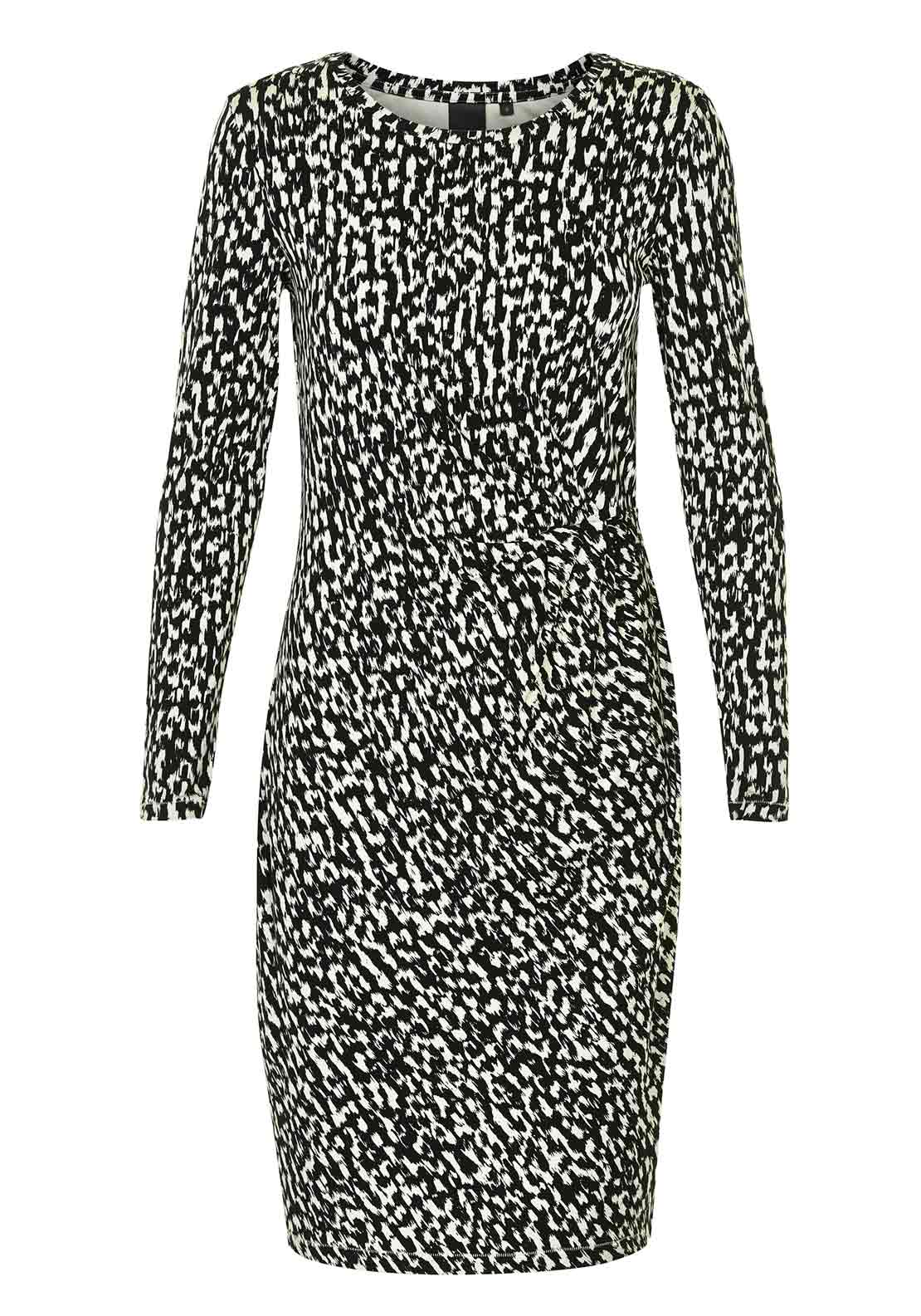 Inwear Rabia Brushstroke Print Long Sleeve Jersey Dress, Black and Cream
