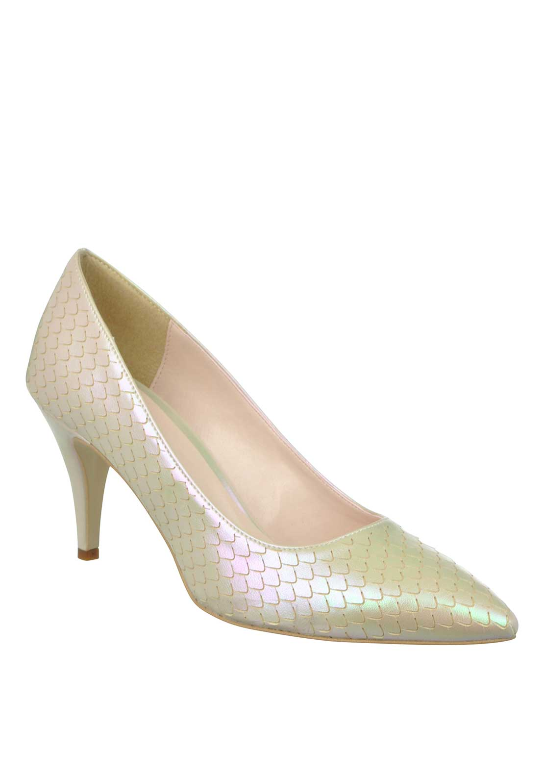 McElhinney's Shimmering Mermaid Print Pointed Toe Low Heeled Shoes, Cream