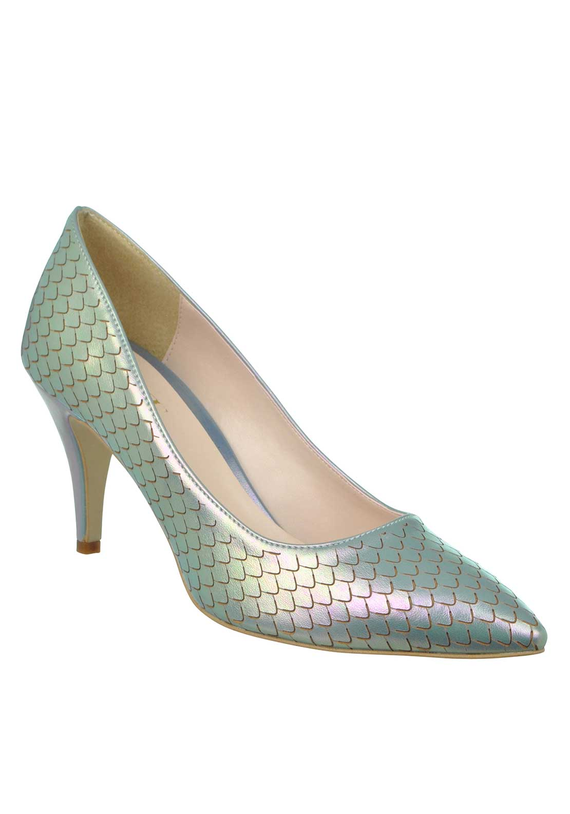 McElhinney's Shimmering Mermaid Print Pointed Toe Low Heeled Shoes, Green