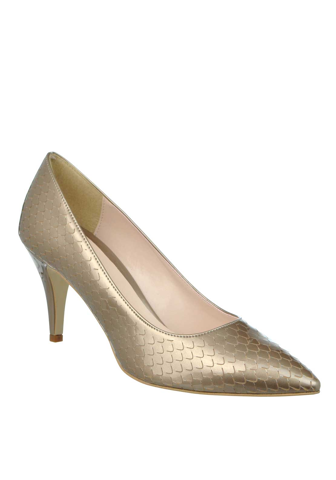 McElhinney's Patent Mermaid Print Pointed Toe Low Heeled Shoes, Taupe