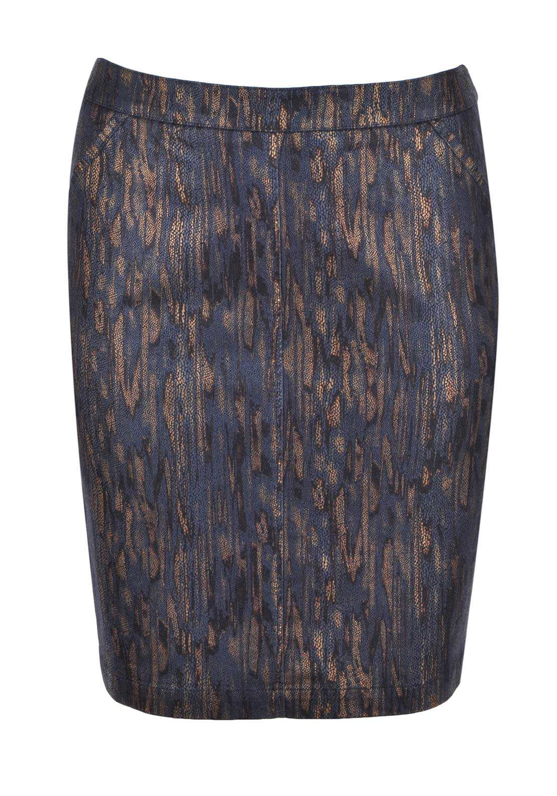 Frank Walder Reptile Print Straight Denim Skirt, Navy and Bronze