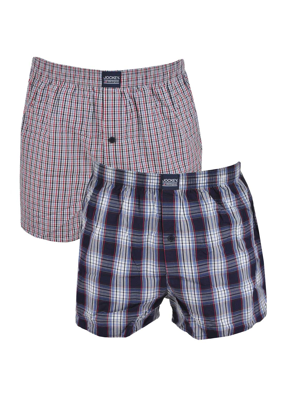 Jockey Mens 2 Pack Woven Boxer Shorts, Red