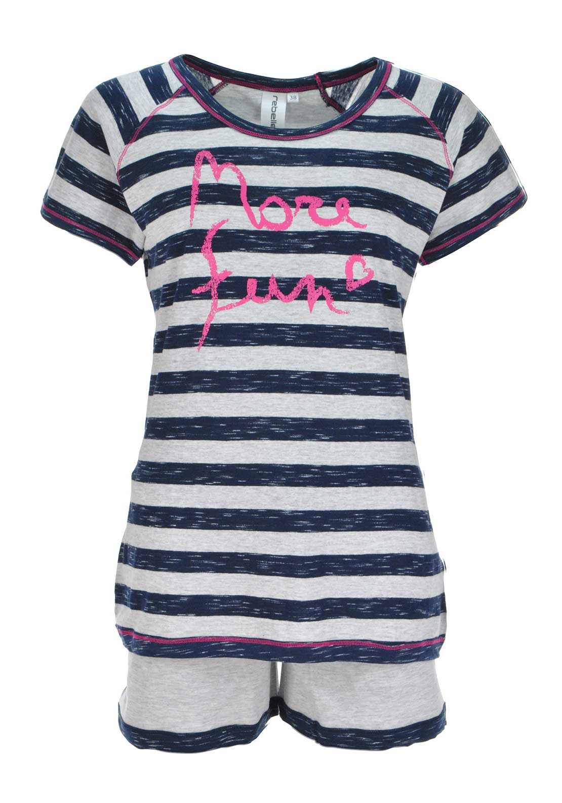 Rebelle Striped Pyjama Set, Grey and Navy