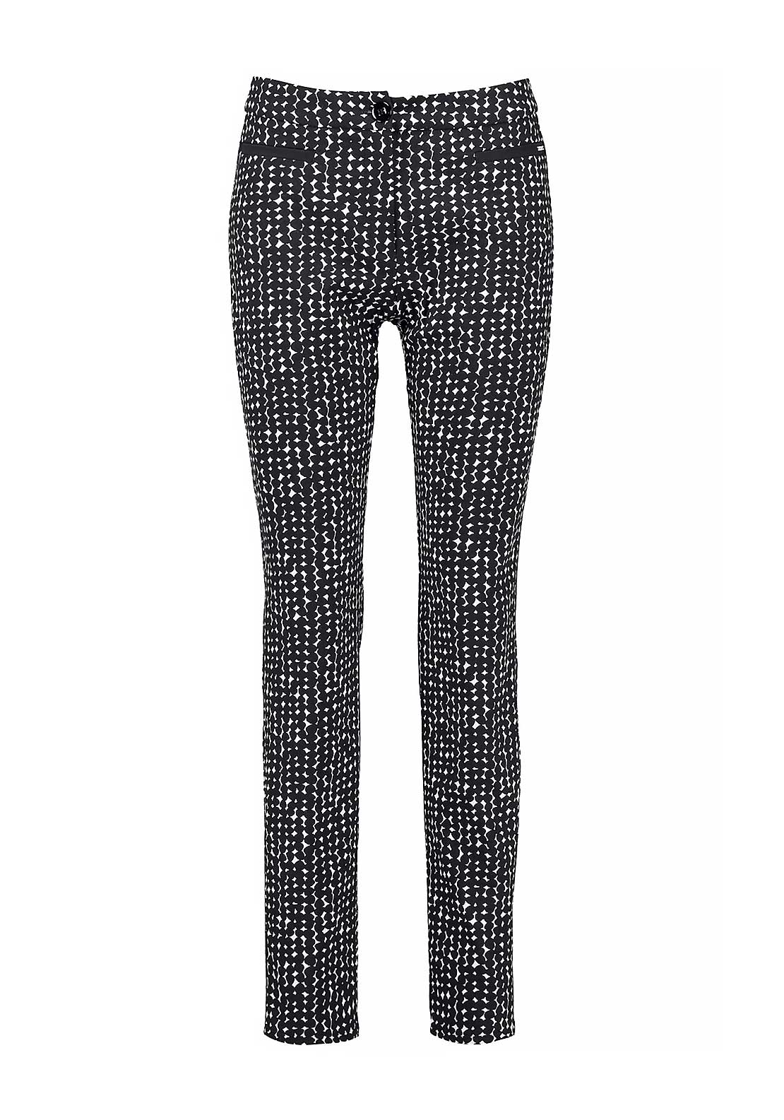Gerry Weber Graphic Print Slim Leg Jersey Trousers, Black