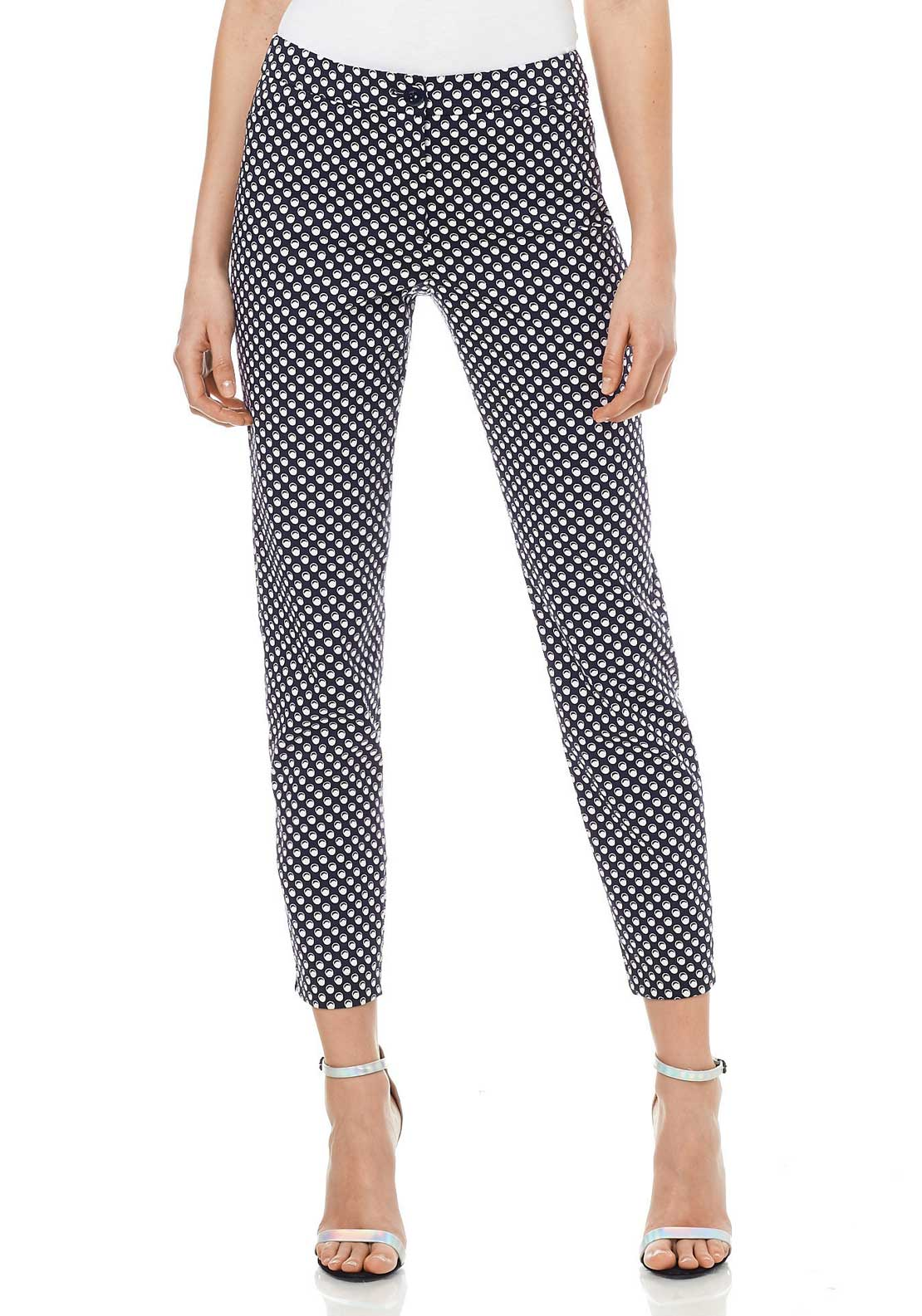 Gerry Weber Circle Print Slim Leg Trousers, Black