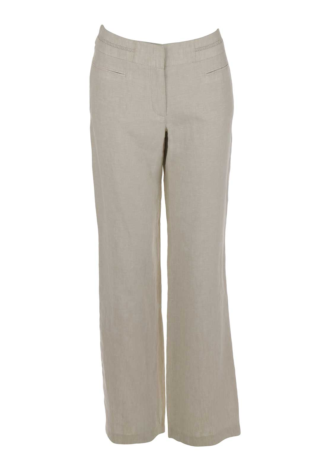 Gerry Weber Embroidered Waistband Loose Fit Linen Trousers, Beige