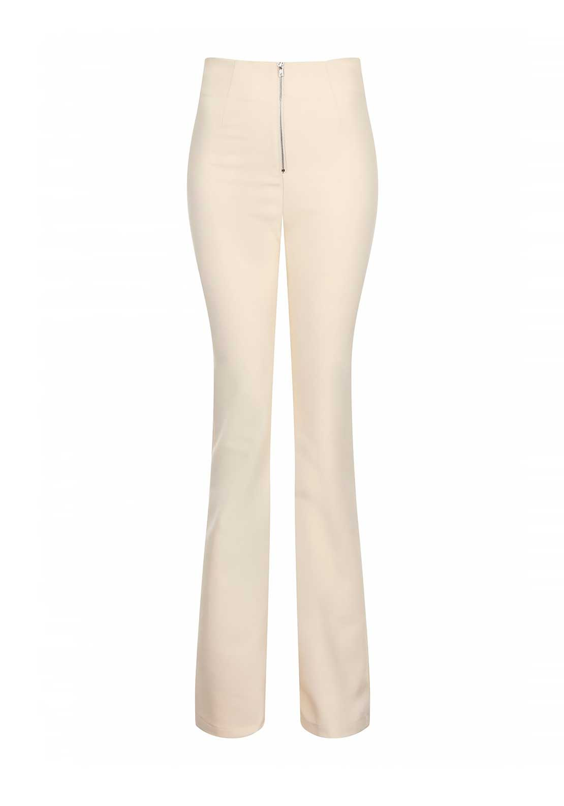 Lavish Alice Lindsay Lohan High Waist Zip Detail Flare Trousers, Cream
