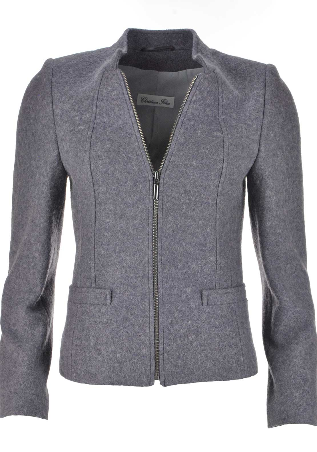 Christina Felix Wool Blend Zip Front Jacket, Grey