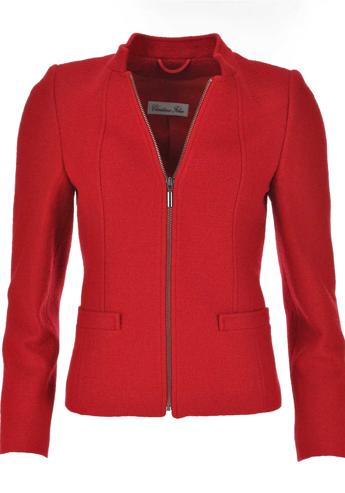Christina Felix Wool Blend Zip Front Jacket, Red