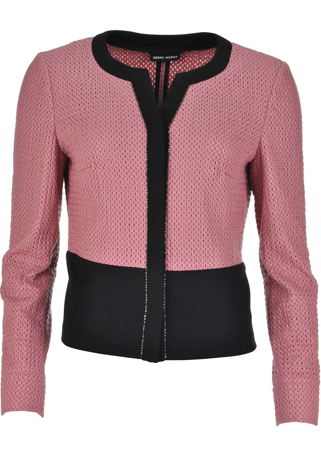 Gerry Weber Laser Cut Out Cropped Leather Look Jacket, Salmon Pink