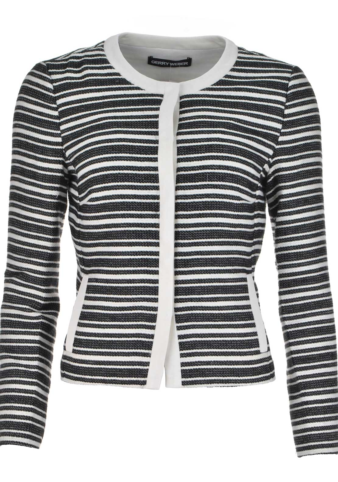Gerry Weber Striped Cropped Jacket, Black and White