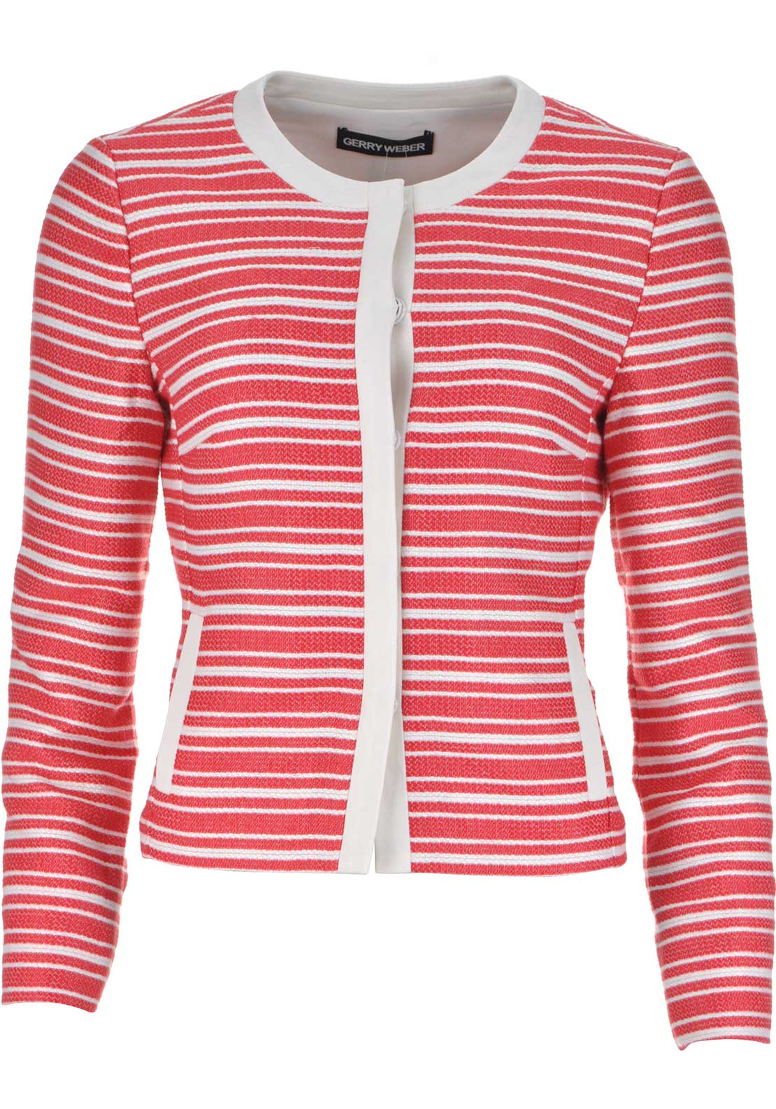 Gerry Weber Striped Cropped Jacket, Red and White