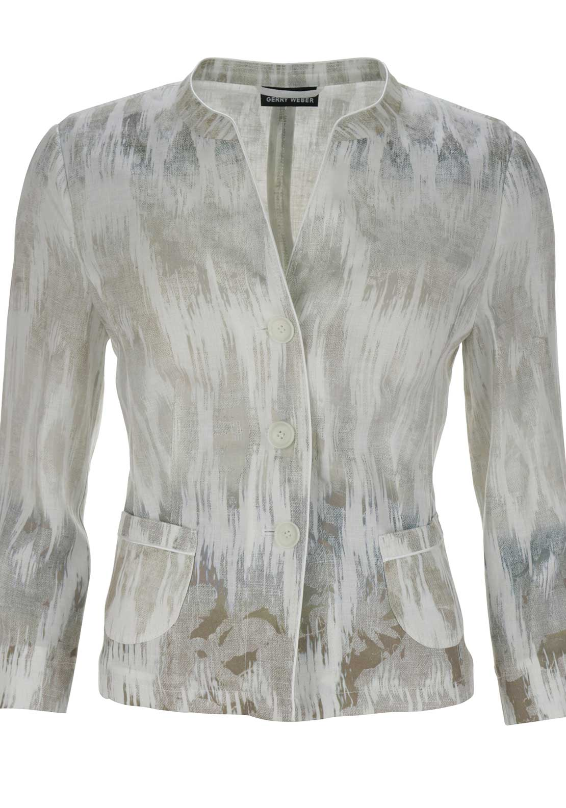Gerry Weber Printed Linen Jacket, Cream Multi