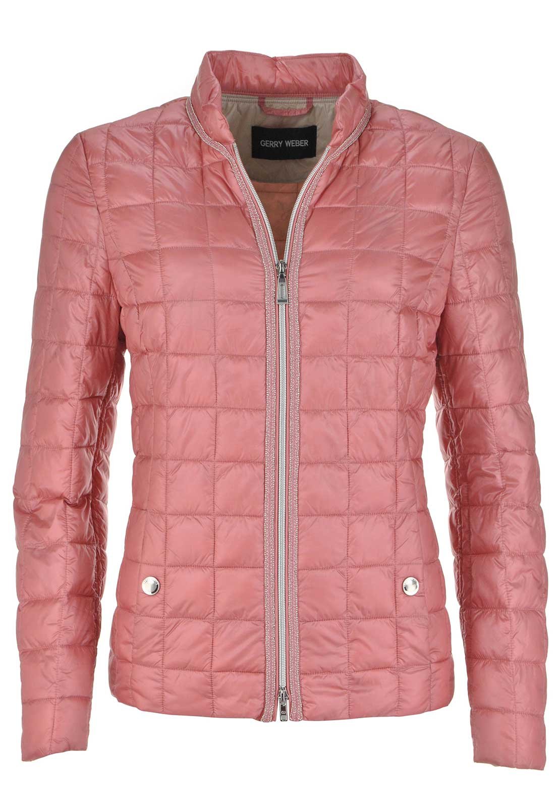 Gerry Weber Stud Embellished Quilted Anorak Jacket, Salmon Pink