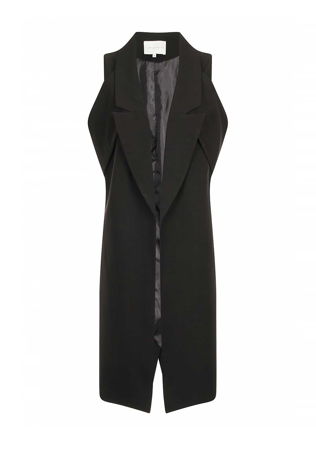 Lavish Alice Sleeveless Duster Jacket, Black