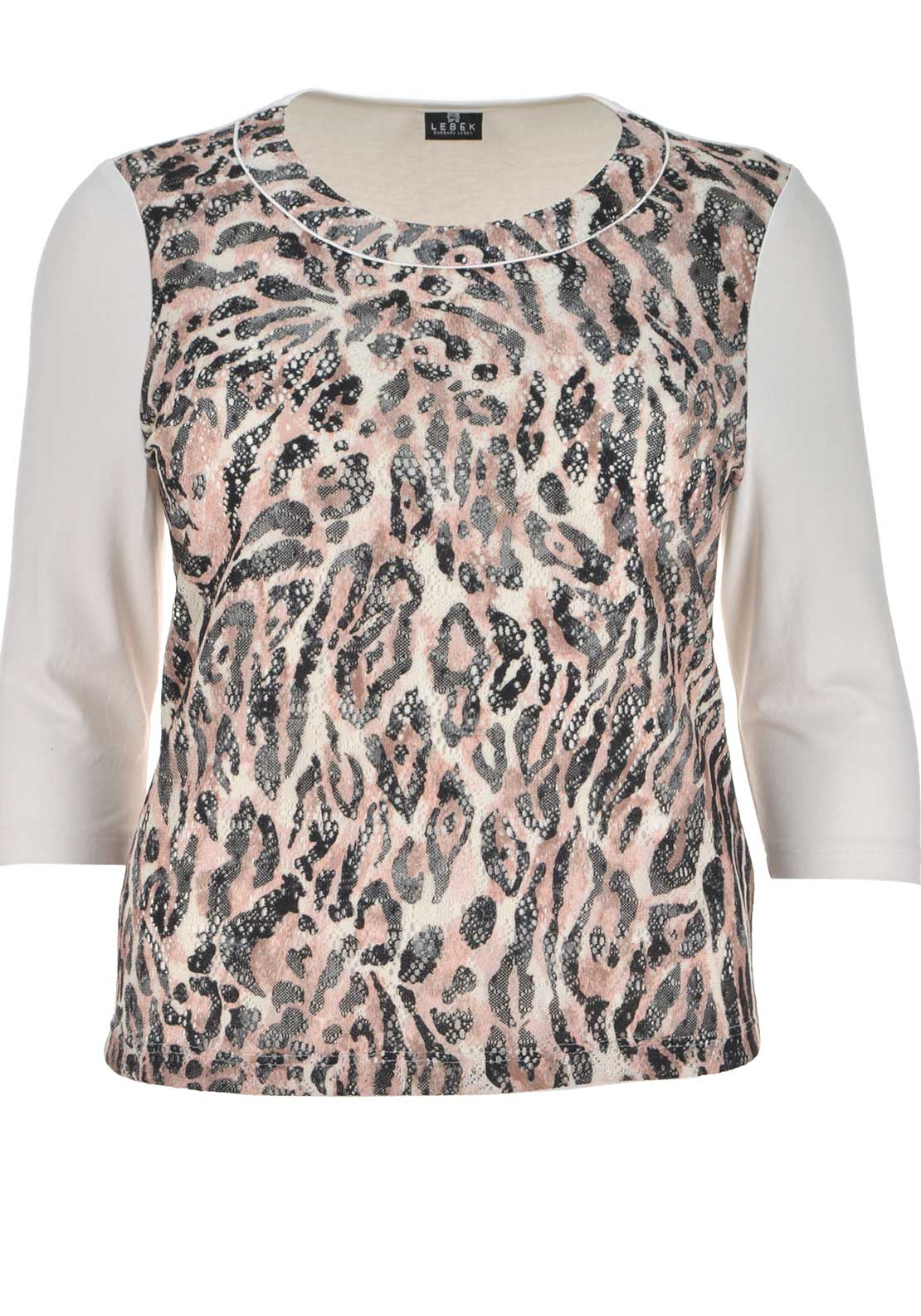 Lebek Animal Print Crochet Overlay Top, Multi-Coloured