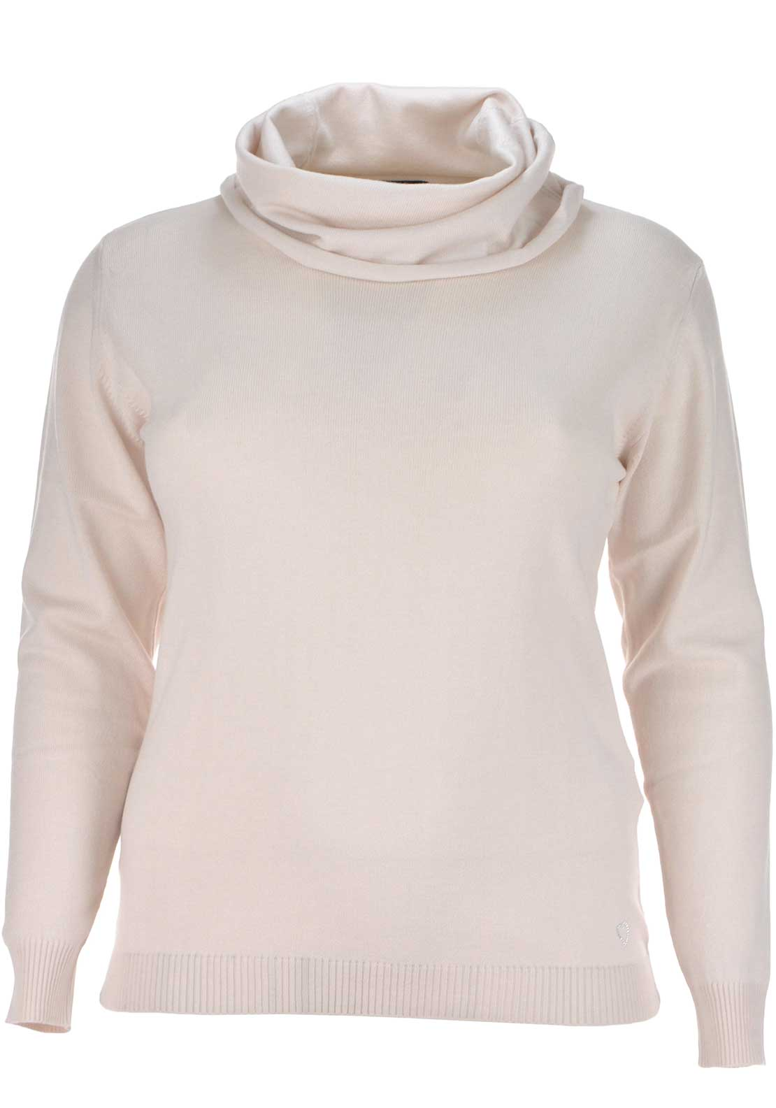Lebek Fine Knit Draped Collar Sweater Jumper, Pale Pink