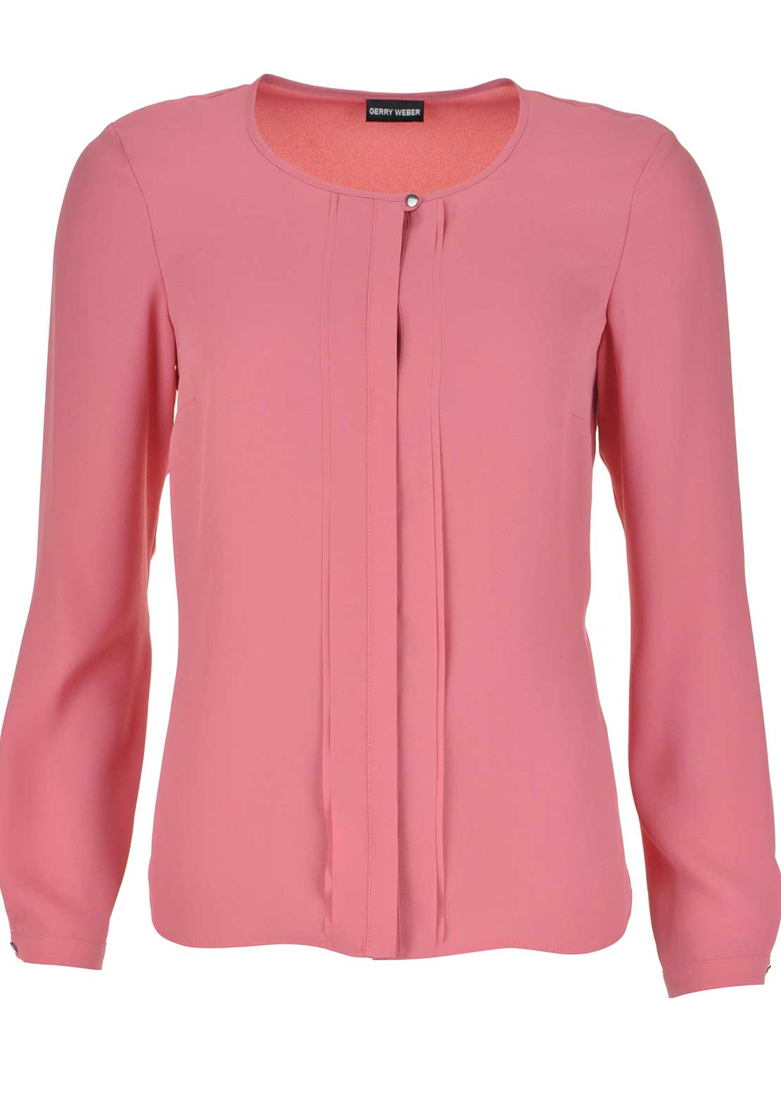 Gerry Weber Pleated Panel Long Sleeve Blouse, Salmon Pink