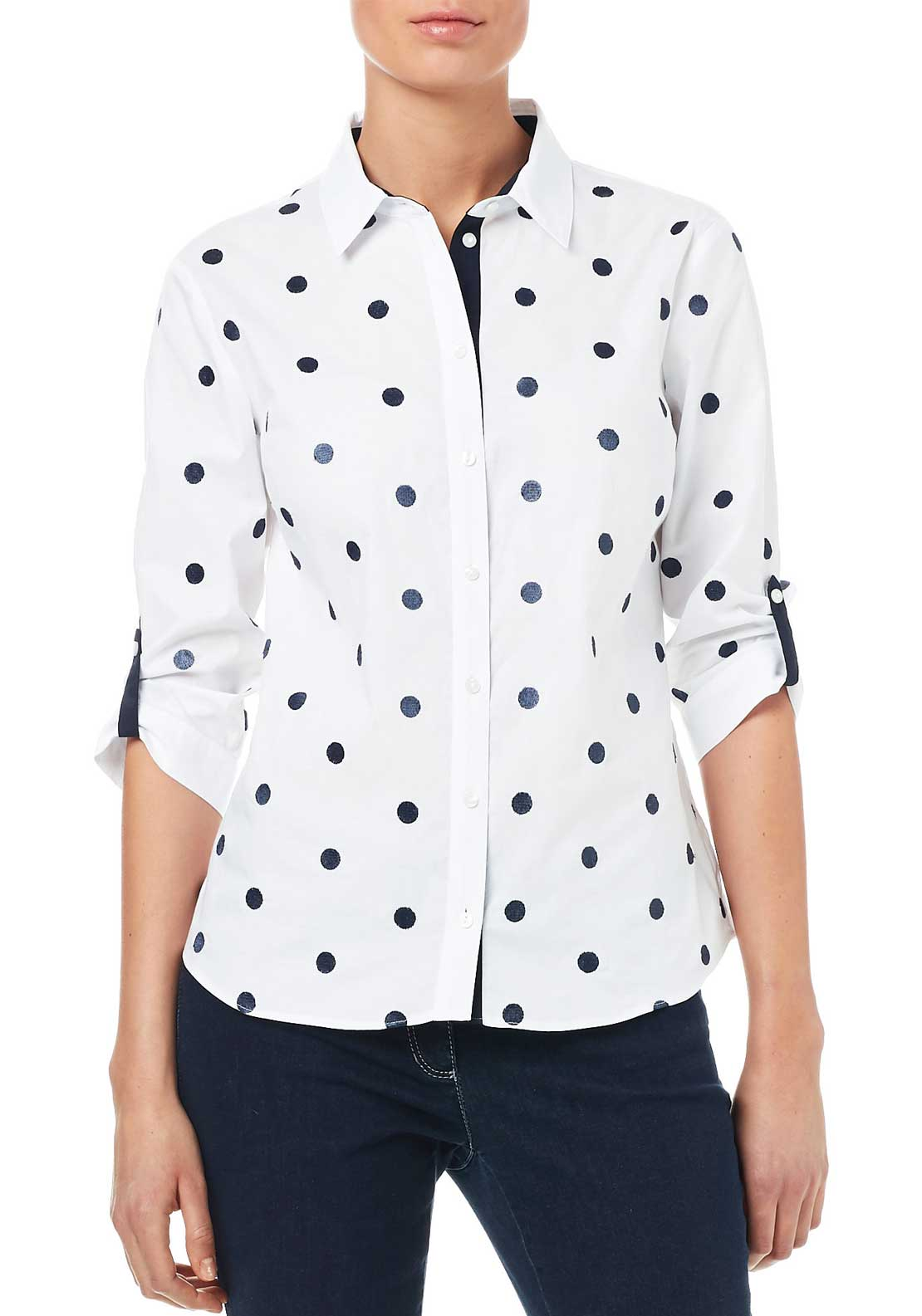 Gerry Weber Polka Dot Blouse, White & Navy