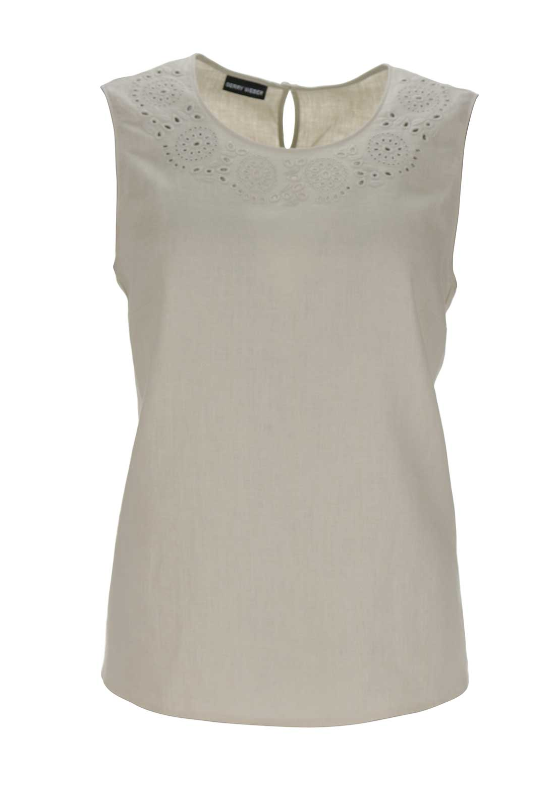Gerry Weber Laser Cut Print Sleeveless Top, Beige