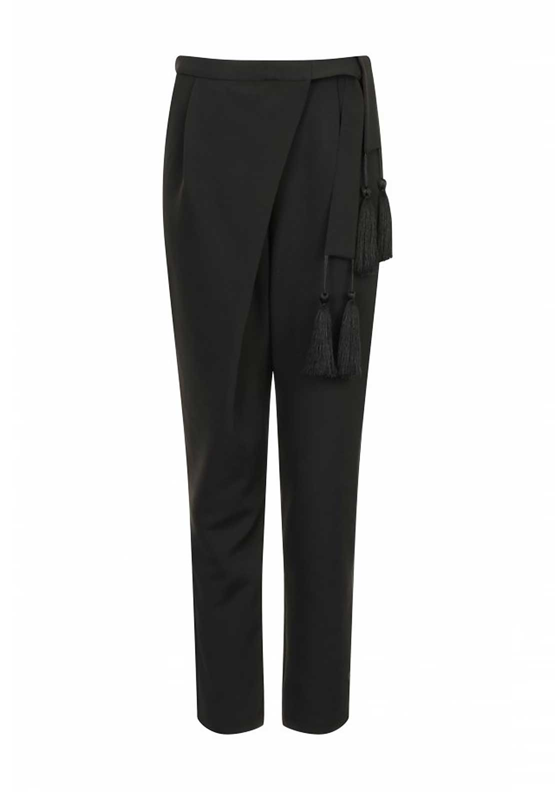 Lavish Alice Tassel Tie Crossover Trousers, Black