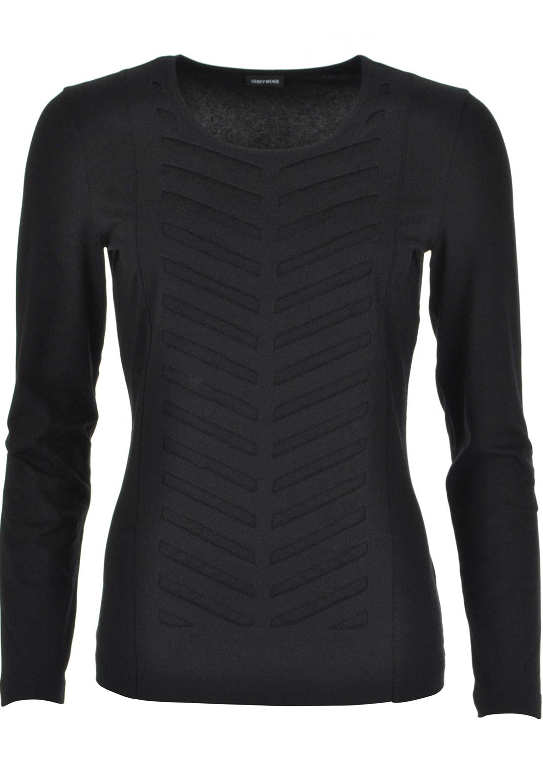 Gerry Weber Mesh Print Long Sleeve Top, Black