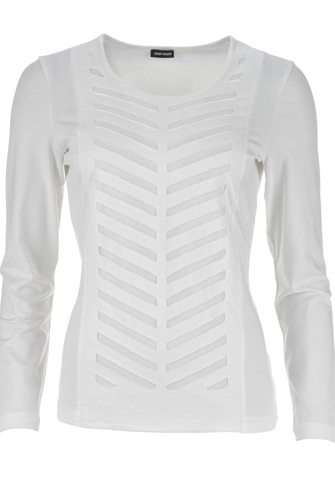 Gerry Weber Mesh Print Long Sleeve Top, Ivory