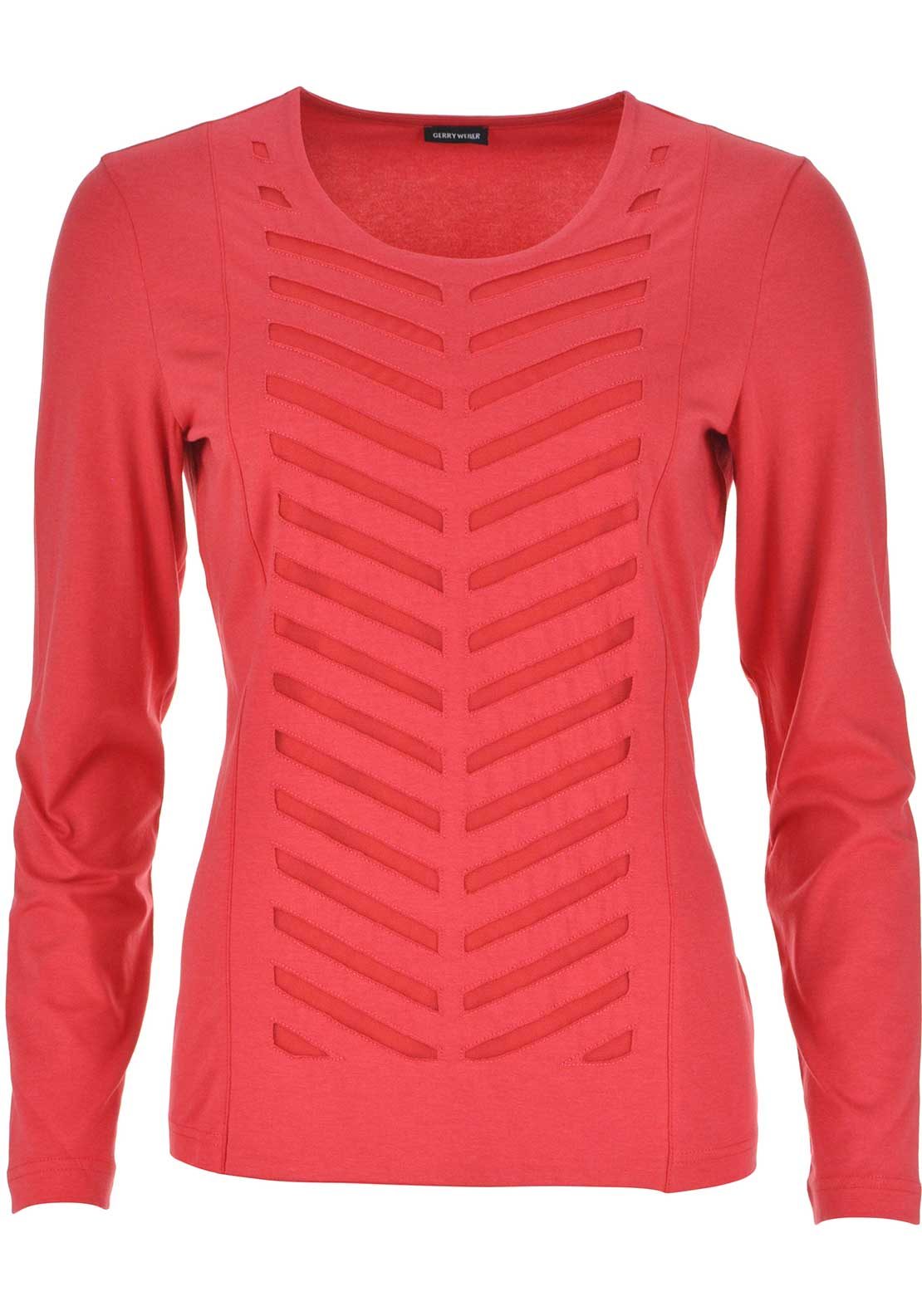Gerry Weber Mesh Print Long Sleeve Top, Red