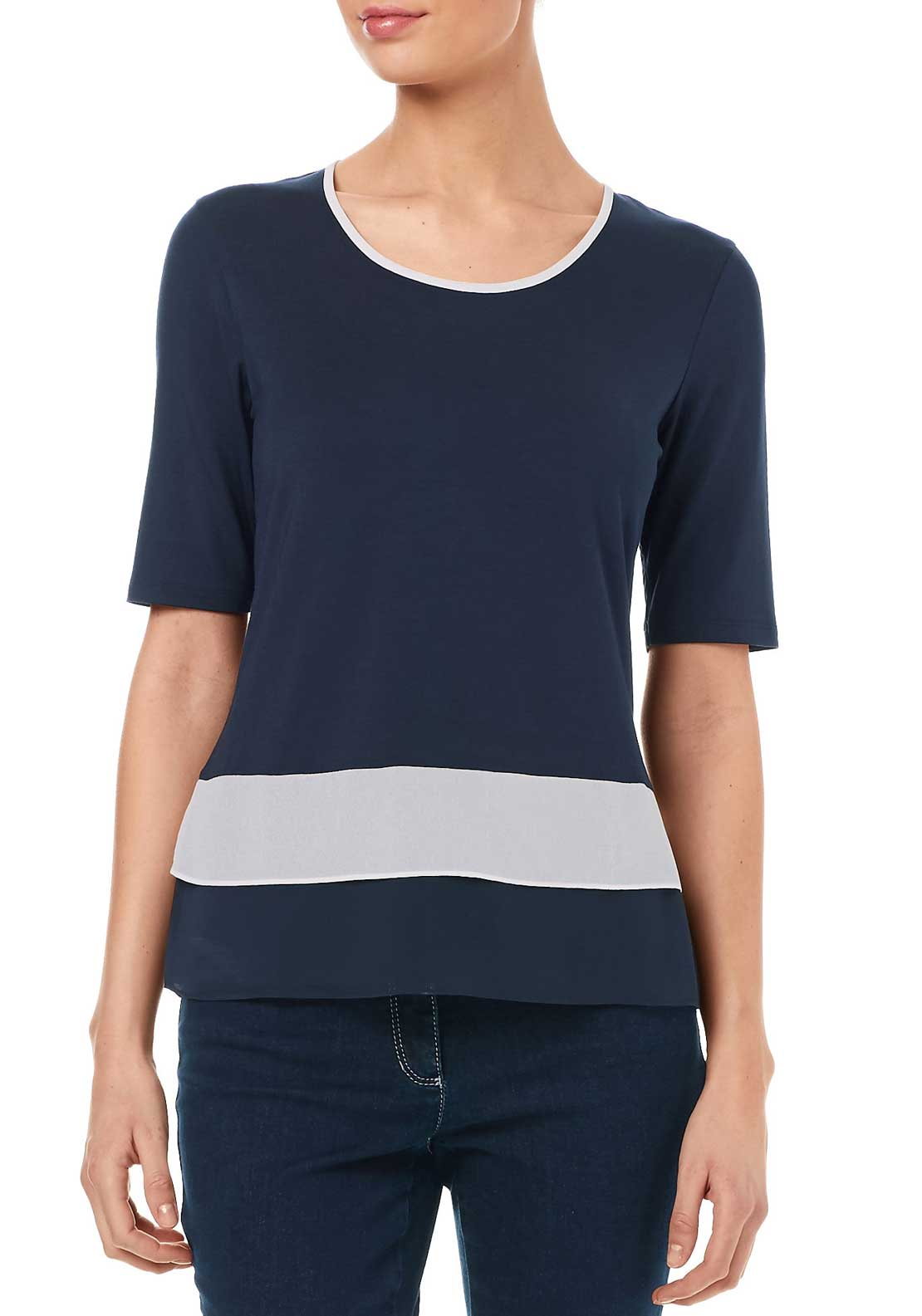 Gerry Weber Top With Frilled Hem, Navy