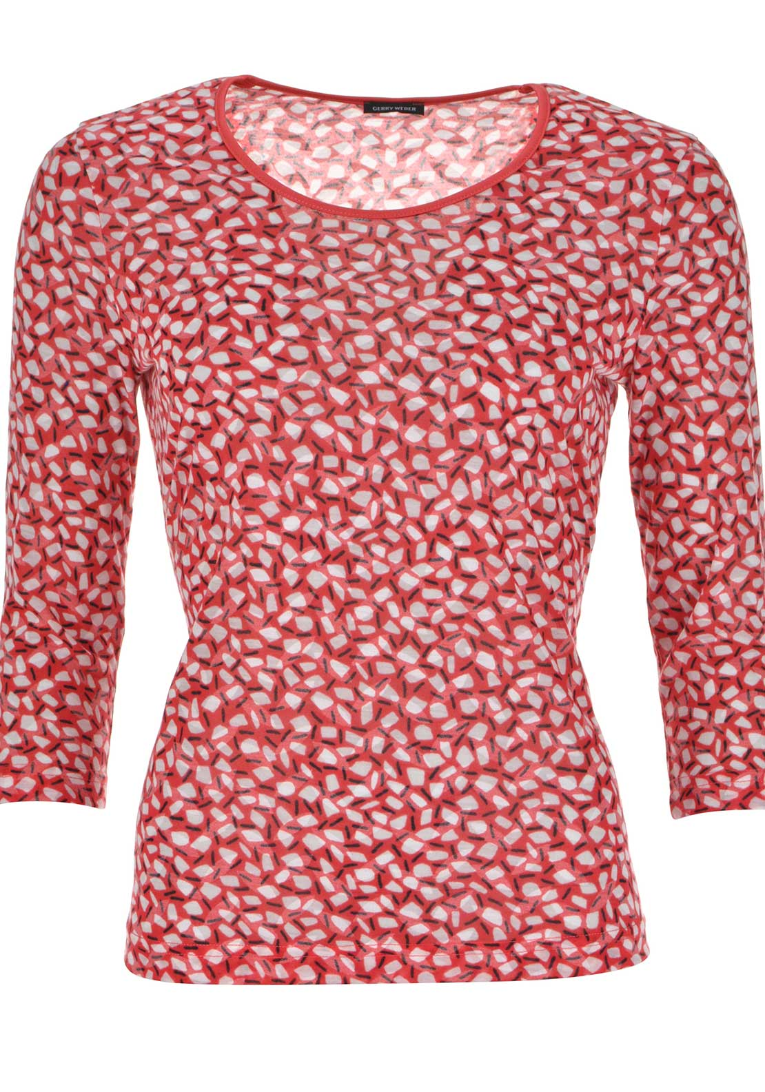 Gerry Weber Printed Semi-Sheer Cropped Sleeve Top, Red Multi