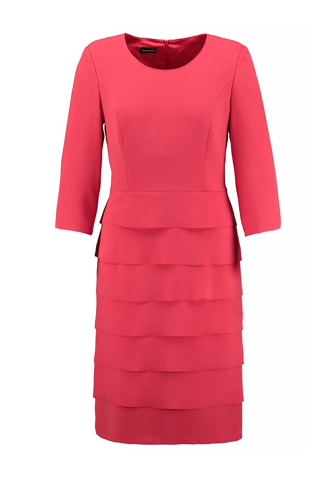 Gerry Weber Cropped Sleeve Layered Shift Dress, Red