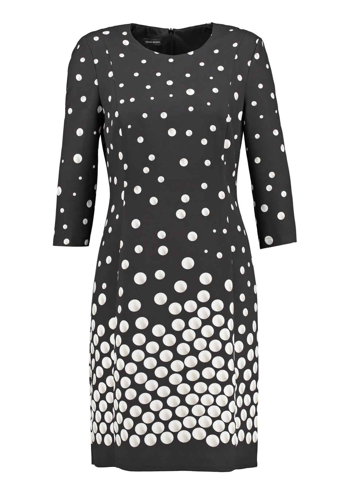 Gerry Weber Spot Print Cropped Sleeve Shift Dress, Black and Cream