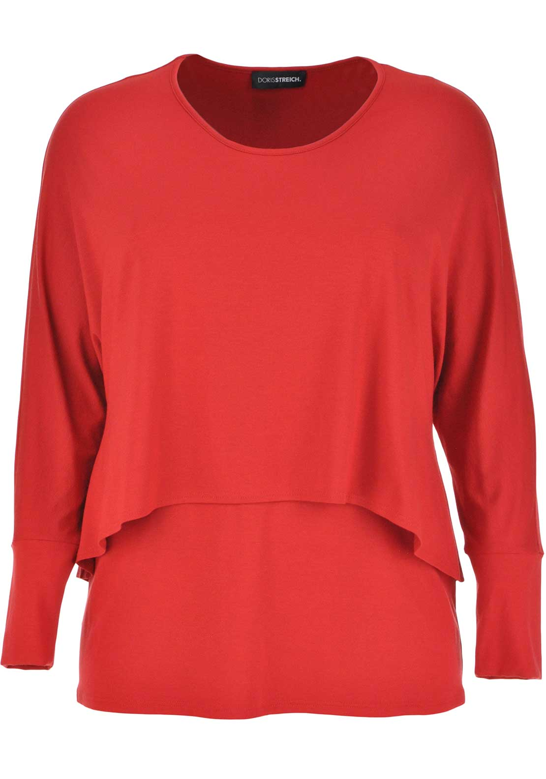 Doris Streich Double Layer Cropped Sleeve Top, Red