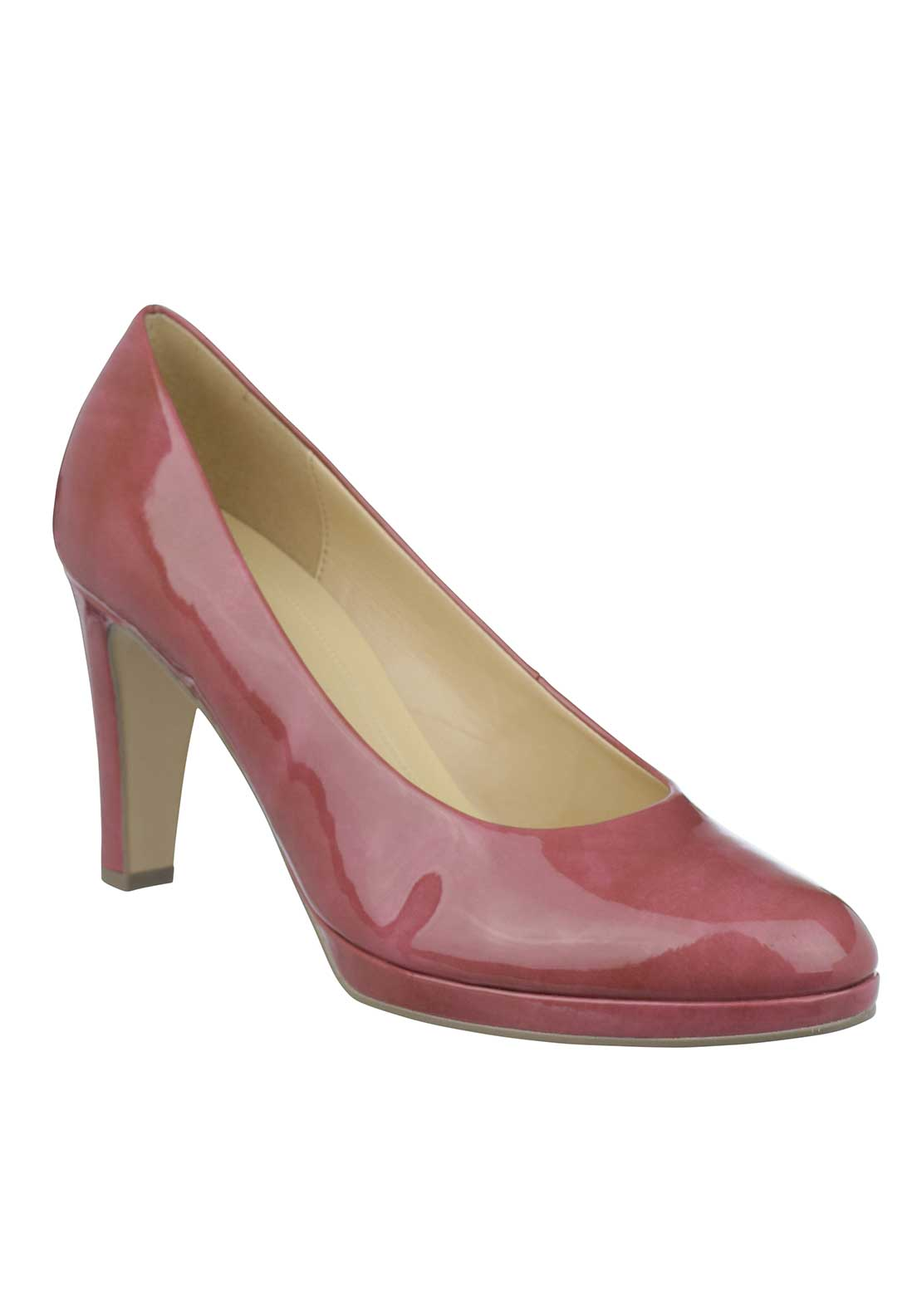 Gabor Patent Heeled Court Shoes, Pink