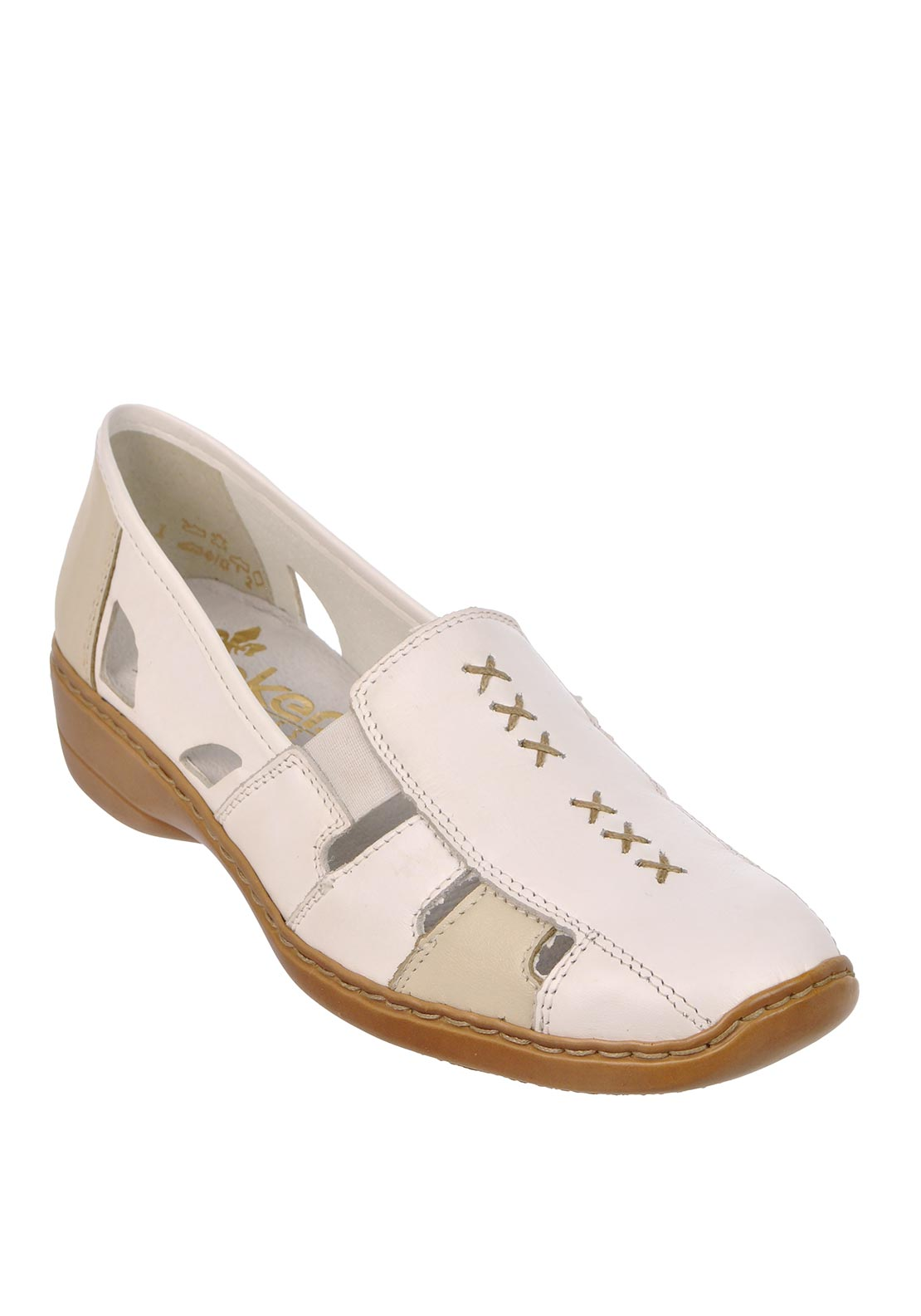 Rieker Womens Cut out leather Shoe, Off White