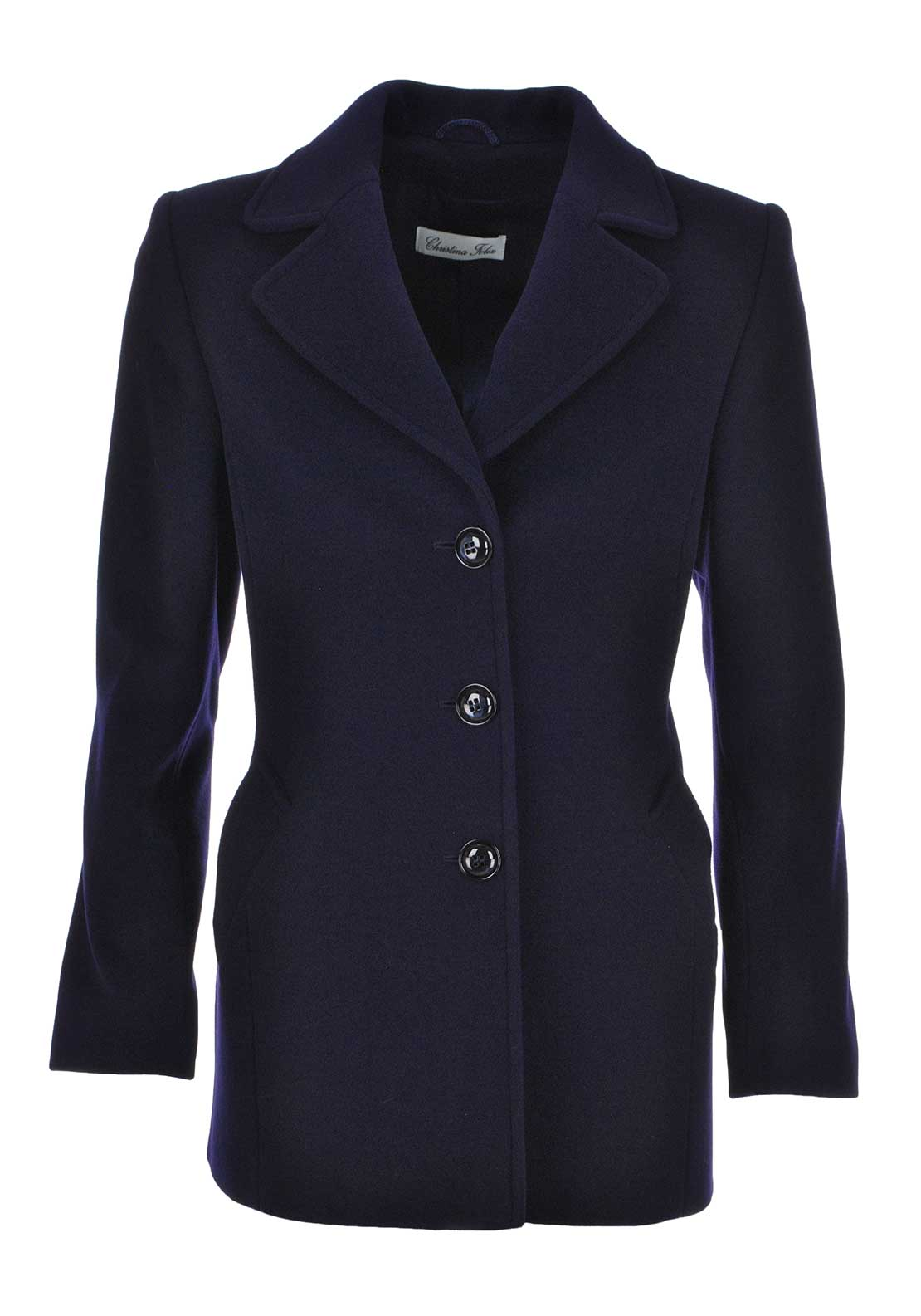 Christina Felix Wool and Cashmere Blend Single Breasted Pea Coat, Navy