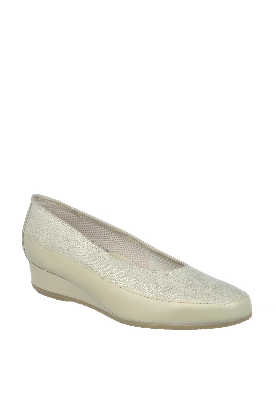 Ara Reptile Print Slip on Wedged Leather Shoes, Silver and Beige