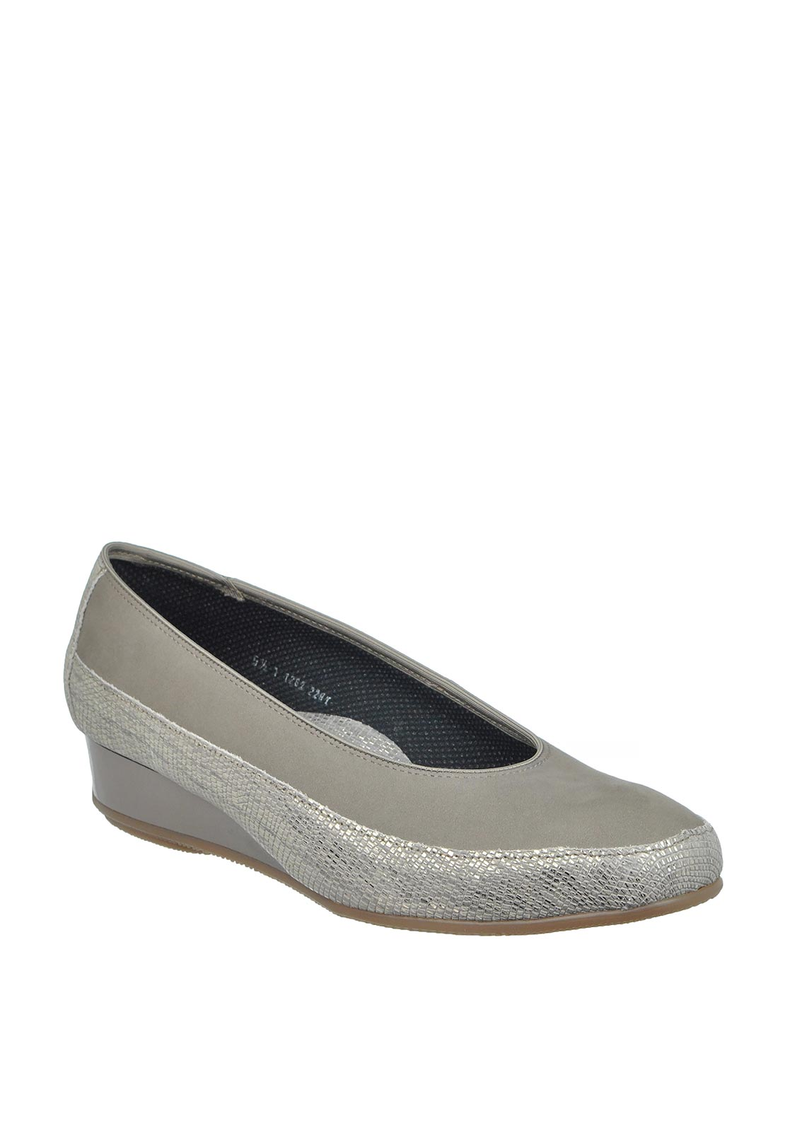 Ara Reptile Print Slip on Wedged Leather Shoes, Grey